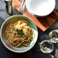 {recipe} Linguine with sea urchin roe (uni) sauce. Briny, exotic, and delicate, this dish tastes like nothing you