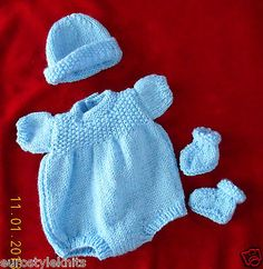 "Doll Clothes blue hand knitted set for baby  boy 11"" 12 fit Corolle 12"