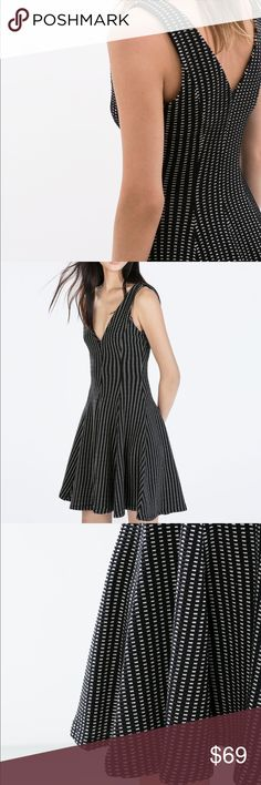 ZARA BLACK AND WHITE CHECK CIRCLE DRESS W/V NECK Dramatic black and white V neck dress with fabulous circle skirt.. It flows beautifully.. hugs the upper body.. then falls to a great circle with nice movement around the skirt area. Brand new with tags. Zara Dresses