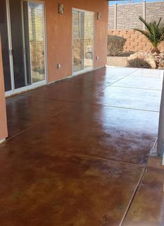 Concrete Acid Stain One-of-a-Kind Look with Acid Stain! Do-It-Yourself with Direct Colors Acid Stain Stained Concrete Driveway, Diy Concrete Patio, Concrete Patio Designs, Acid Stained Concrete, Diy Patio, Concrete Floors, Concrete Sealer, Patio Ideas, Pergola Ideas
