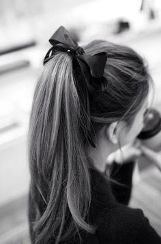 Black ribbon in long hair