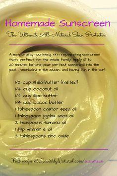 Homemade Sunscreen butter...will research for a higher spf diy