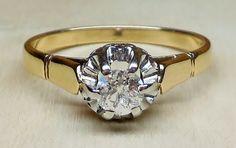 Vintage Antique .25ct Old European Cut Diamond 18k Yellow White Gold Engagement Ring 1920's Art Deco by DiamondAddiction on Etsy