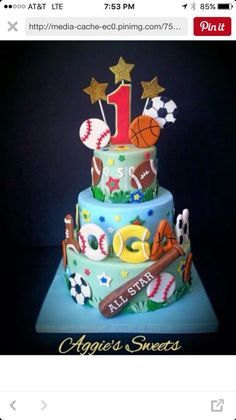 Birthday cake 3 tier sports theme