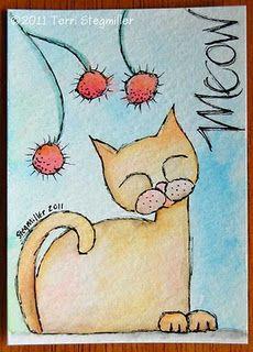 Terri Stegmiller Art and Design Art Doodle, Art Trading Cards, Art Drawings For Kids, Watercolor Cards, Watercolor Paintings, Atc Cards, Small Art, Art Plastique, Cat Art