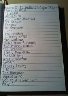 Chick flick movie list.... Some not so much