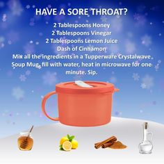 Sore throat repair, with the Crystal wave soup mug
