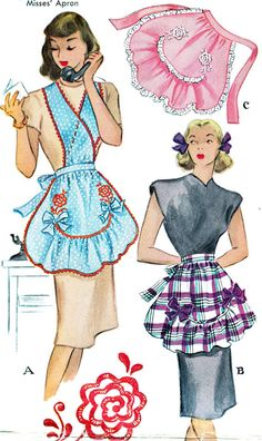 Apron Pattern McCall 1279 Womens Full Apron or Half Apron Criss Cross Front Straps or Ruffled Apron Vintage Sewing Pattern One Size Vintage Apron Pattern, Vintage Sewing Patterns, Retro Apron, Illustration Mode, Illustrations, 1940s Fashion, Vintage Fashion, Fashion Fashion, Patron Vintage