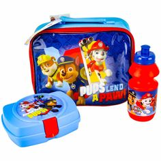 Nickelodeon Patrol Kid Lunch Set School Bag Boys Blue Pups Lend A Paw  4cd3916e3f8