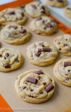 Chewy Chocolate Chunk Cookies and the secrets to thick, chewy, and soft cookies. By sallysbakingaddiction.com #cookie #recipe #dessert