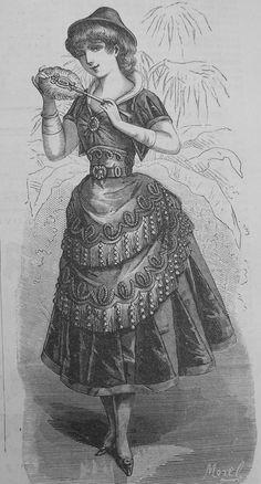 Ladies Fancy Dress Costume LaMode Illustree' 1880's