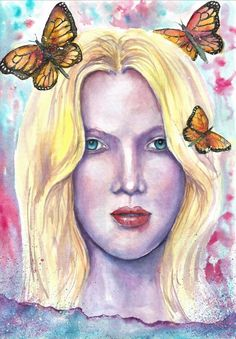 Original abstract women face painting girl portrait butterfly decor art sign #Impressionism