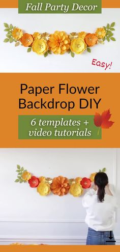 """With this paper flower backdrop DIY kit, you can easily create a professional looking paper flower backdrop! """"Paper Flower Backdrop DIY Kit"""" includes 5 different paper flower templates (dahlia, 2 types of garden roses, daisy and small flowers) as well as templates for leaves, and very detailed step-by-step video tutorials! Everything you need is in one box! #paperflowerbackdrop #paperflowersbackdrop #paperflowertutorial #paperflowerstemplates How To Make Paper Flowers, Large Paper Flowers, Paper Flowers Wedding, Paper Flower Wall, Small Flowers, Flower Wall Backdrop, Backdrop Ideas, Paper Flower Backdrop, Paper Dahlia"""