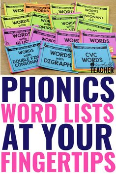 Are you looking for the Ultimate List of Phonics words? Phonics word lists make teaching and practicing phonics so much easier! Every reading teacher needs this ultimate set of phonics word lists to help make phonics instruction a breeze! Use them in your second grade classroom right at your fingertips! Phonics Rules, Phonics Words, Teaching Phonics, Phonics Activities, Teaching Strategies, Teaching Reading, Kindergarten Activities, Phonemic Awareness Kindergarten, Kindergarten Classroom