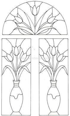 Tulips in case - panels and transom