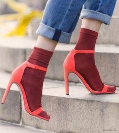 Heels, ASOS; socks, Topshop, neon / Garance Doré