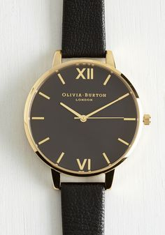 Classic Company Watch in Big. Add timeless elegance to any ensemble with this black Big Dial watch by Olivia Burton! #black #modcloth
