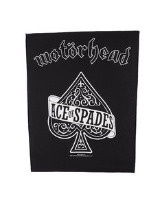"Motorhead - Ace of Spades Back Patch.  Size: H 35.5cm (14"") x Wide at top 30cm (11.6"")  Free Shipping to anywhere in Australia."