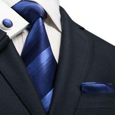 """3PC Silk Necktie Set Color: Blue 59"""" Length, 3.25"""" Width"""