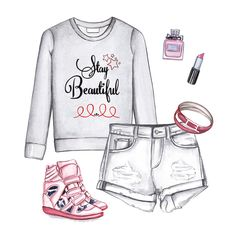 Quote sweatshirt, white shorts, sneakers