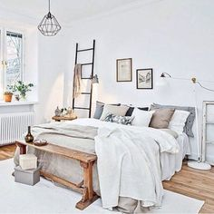 Scandi bedroom styling by by immyandindi / home decor inspiration / scandinave / design / interior / bedroom / chambre Dream Bedroom, Home Bedroom, Master Bedroom, Bedroom Furniture, Furniture Ideas, Furniture Styles, Vintage Furniture, Bedroom 2017, Bedroom Desk