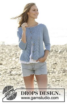 Knitted jacket with lace pattern and raglan in DROPS Paris. Sizes S - XXXL.