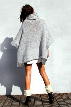 Items similar to Cozy Sweater Poncho, Knit Poncho, Oversized Sweater, Big Sweater, Loose Sweater, Warm Sweater on Etsy