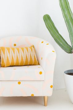Refresh your home decor with a DIY painted chair makeover for that old piece of furniture you forgot you even owned! We hacked our Ikea chair! Chair Makeover, Furniture Makeover, Diy Furniture, Furniture Refinishing, Ikea Fabric, Chair Fabric, Elegant Home Decor, Diy Home Decor, Room Decor