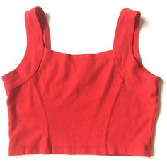 Vintage 90s Red Sleevelss Crop Top (36 CAD) ❤ liked on Polyvore featuring tops, 80s fashion, vintage tops, sleeveless crop top, sleeveless tops and red crop top