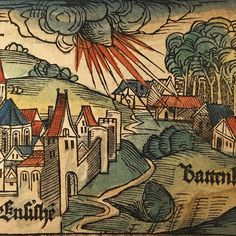 The earliest obtainable* image of a meteorite, from Schedel's 1493 Liber Chronicarum. The Ensisheim meteorite fell to Earth on Nov 7th 1492. The main mass can still be seen in the town.  I once auctioned a small piece of it. *there are earlier & incredibly rare, only found in institutions, broadsheets with a woodcut of it from 1492 by Sebastian Brandt. **the colour is a later addition, almost certainly modern.  #medieval #meteorite #woodcut #rarebooks #latercolor #latercolour #collector…