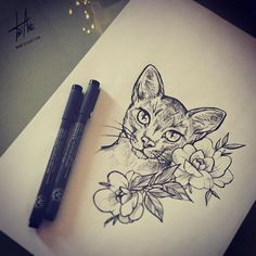 #cat #sketch #ink #drawing #tattoodesign #art #instaartist