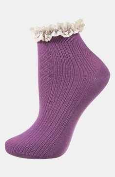 Topshop Lace Trim Ankle Socks