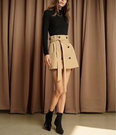 cd6ec08fbab9 Tan Trench Button Mini Skirt with Belt . Made by Length Size xs waist s  waist m waist