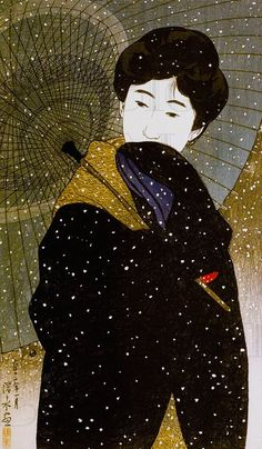 Ito Shinsui, Night Snow, tō Shinsui, was the pseudonym of a Nihonga painter and ukiyo-e woodblock print artist in Taishō and Shōwa period Japan. Japan Illustration, Art Chinois, Art Asiatique, Art Japonais, Japanese Painting, Japanese Prints, Japan Art, Print Artist, Japanese Culture