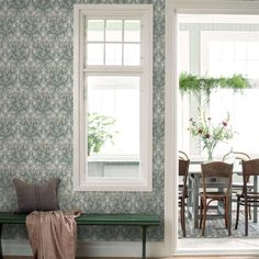 Masterfully illustrated, this beautiful floral wallpaper is depicted with an elegant colour palette of pearl grey, greens, blues and yellow? Available to buy in stores around the UK and world. Showcasing the best in Swedish design – view our In Bloom co Thistle Wallpaper, Botanical Wallpaper, Unique Wallpaper, Retro Wallpaper, Pattern Wallpaper, Wallpaper Designs, Swedish Design, Scandinavian Design, Magnolia Colors