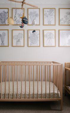 Neutral and textural nursery featuring handmade mobile, floral drawings and Ikea Sniglar cot Nursery Inspiration, Interior Design Inspiration, Home Design, Ikea Cot, Mobiles, Comfy Cozy Home, Moroccan Style Rug, Scandinavian Nursery, Scandinavian Style