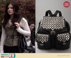 Aria's studded backpack on Pretty Little Liars. Outfit Details: http://wornontv.net/16463/