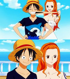 Luffy Nami #OnePiece #anime #pirates -- I never really shipped them but they're so damn cute!