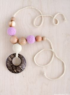 Nursing necklace with coconut ring pendant
