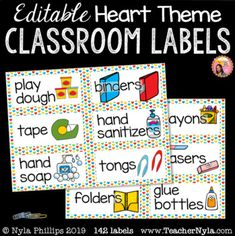 Classroom Supply Labels with Pictures - Editable - Heart Borders