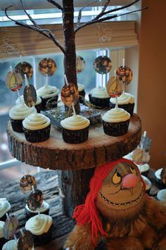 Rustic cupcake display at a Where the Wild Things Are baby shower!  See more party ideas at CatchMyParty.com!  #partyideas #babyshower