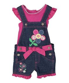 117f45d5a92b Take a look at this Fuchsia Tee   Denim Flower Shortalls - Infant