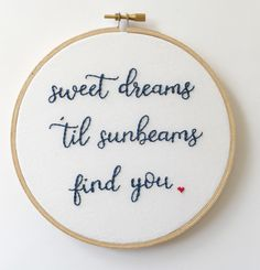 """Sweet Dreams Hoop Art - 6"""" Hand Embroidery - Wall Hanging by AlleycatandCo on Etsy https://www.etsy.com/listing/496415347/sweet-dreams-hoop-art-6-hand-embroidery"""