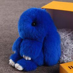Cute fluffy bunnies rabbits Blue small charm keychain phone charm bag charm 1f90ca55ff