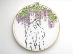 Embroidery art Wisteria / Embroidery hoop art /