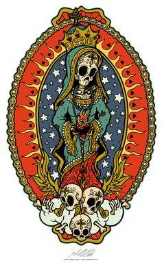 The art of Jeral Tidwell Tattoo Drawings, Art Drawings, Tattoo Art, Los Muertos Tattoo, Day Of The Dead Artwork, Sugar Skull Artwork, Mexican Tattoo, Sugar Skull Tattoos, Sugar Skulls