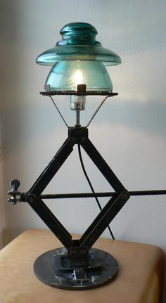 Jack, insulator - I need to learn to weld, solder or braise Industrial Style Lamps, Vintage Industrial Decor, Glass Insulators, Lighting Concepts, Concrete Lamp, Steampunk Lamp, Cool Lamps, Pipe Lamp, Rustic Lighting
