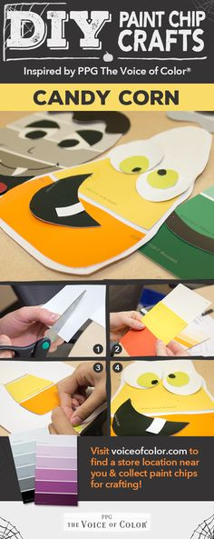 Colorful Halloween crafts Paint chips, Puppet and Craft - cute easy halloween decorations