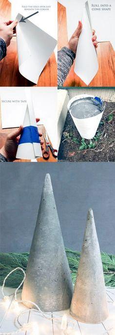 DIY árbol de navidad de cemento