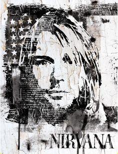 Street art Portrait of Kurt Cobain by INDO The Artist Kurt Cobain Painting, Kurt Cobain Art, Nirvana Kurt Cobain, Rock Posters, Band Posters, Nirvana Art, Band Wallpapers, Pop Rock, Hip Hop Art